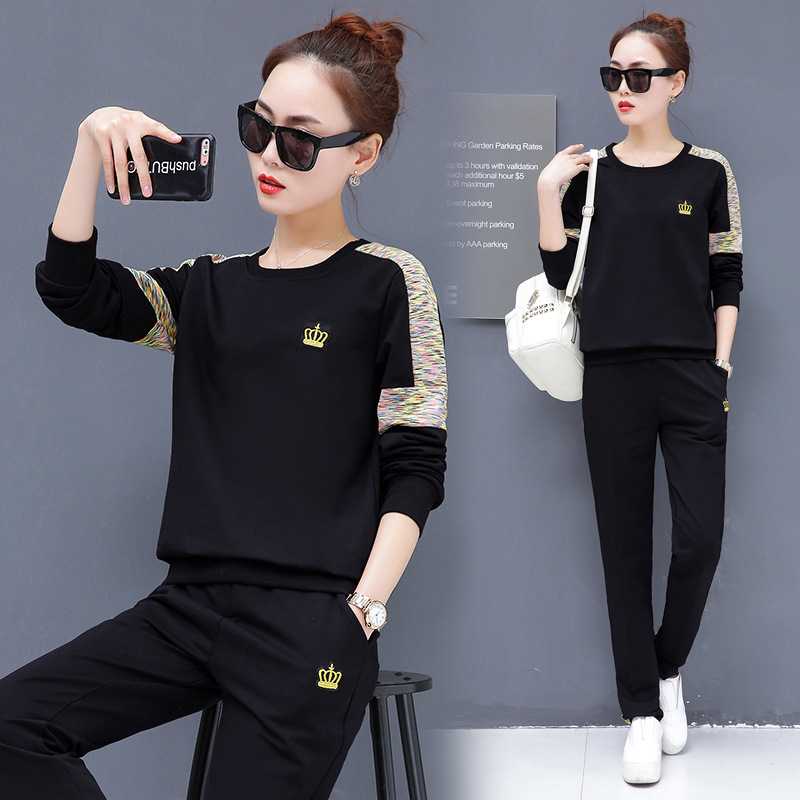 Casual Sports WOMEN'S Suit Spring And Autumn New Style 2019 Korean-style Fashion WOMEN'S Dress Crew Neck Long Sleeve Hoodie Slim