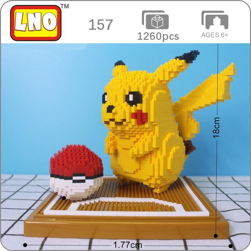 LNO 157 Game Pikachu Monster Animal 3D Model 1260pcs DIY Mini Diamond Blocks Bricks Building Toy For Children No Box