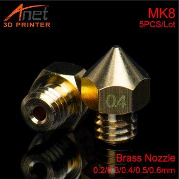 цена на 5pcs/lots 3D Printer Parts MK8 Nozzle Makebot 0.2/0.3/0.4/0.5/0.6mm Size Optional For 3D Printer Hotend Extruder 1.75mm Filament