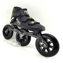 اليابانية الألياف الزجاجية الأحذية المهنية سرعة حذاء تزلج بعجلات النساء الرجال 3*125 مللي متر عجلات المنافسة الأسطوانة أحذية التزلج Patines سباق