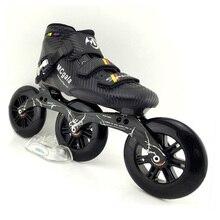 JAPY Botas de fibra de vidrio Velocidad Profesional Patines en línea, para hombre y mujer, 3x125MM, para competición, patinaje sobre ruedas