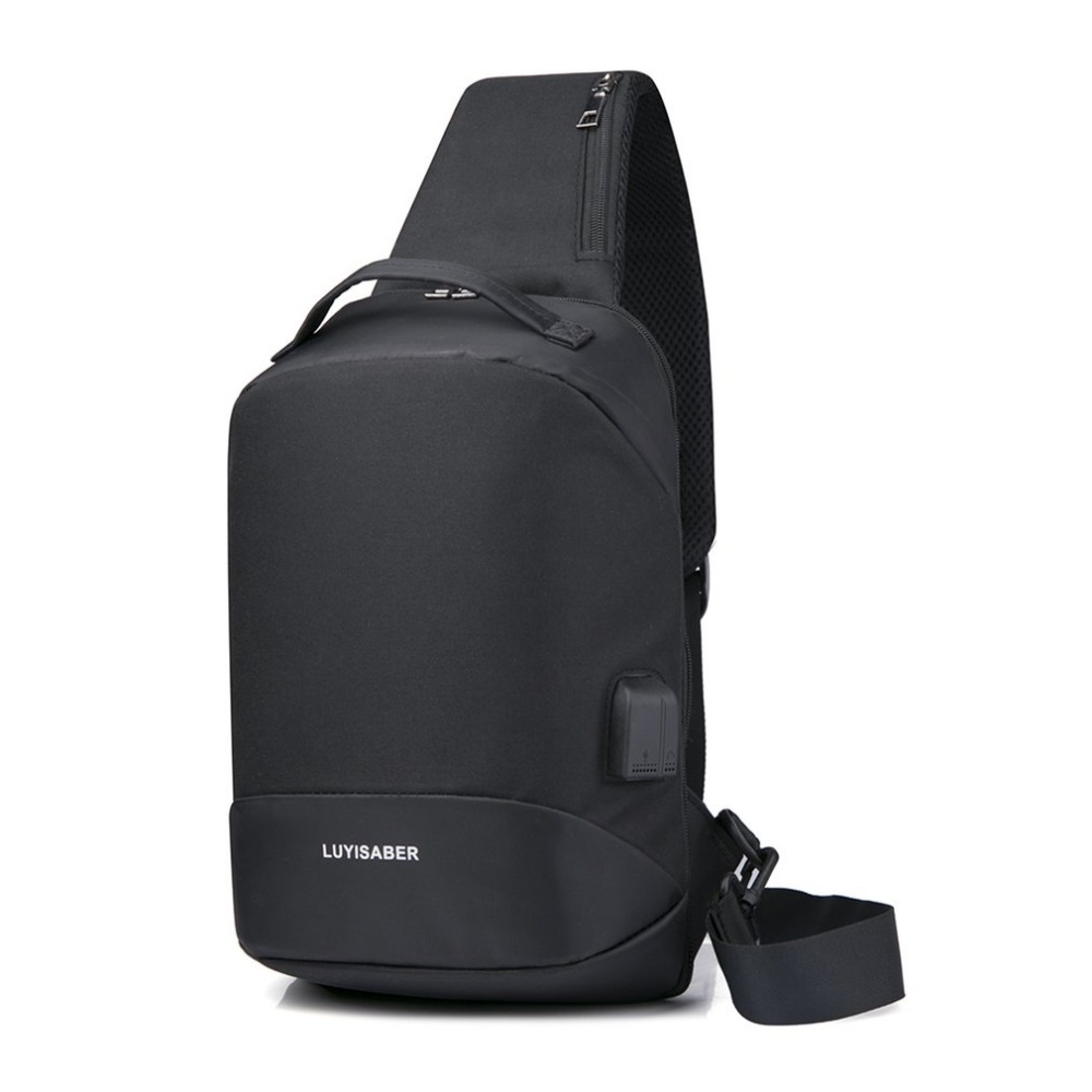 Multifunction Crossbody Bags Men USB Charging Chest Bag Casual Nylon Short Trip Messengers Chest Bag Single Shoulder Bag