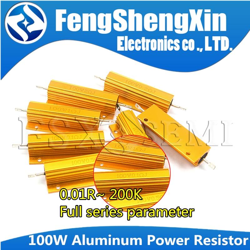 RX24 100W Aluminum Power Metal Shell Case Wirewound Resistor 0.01~200K 0.33 0.5 1 2 5 6 8 10 20 50 100 120 200 300 1K 5K 10K ohm