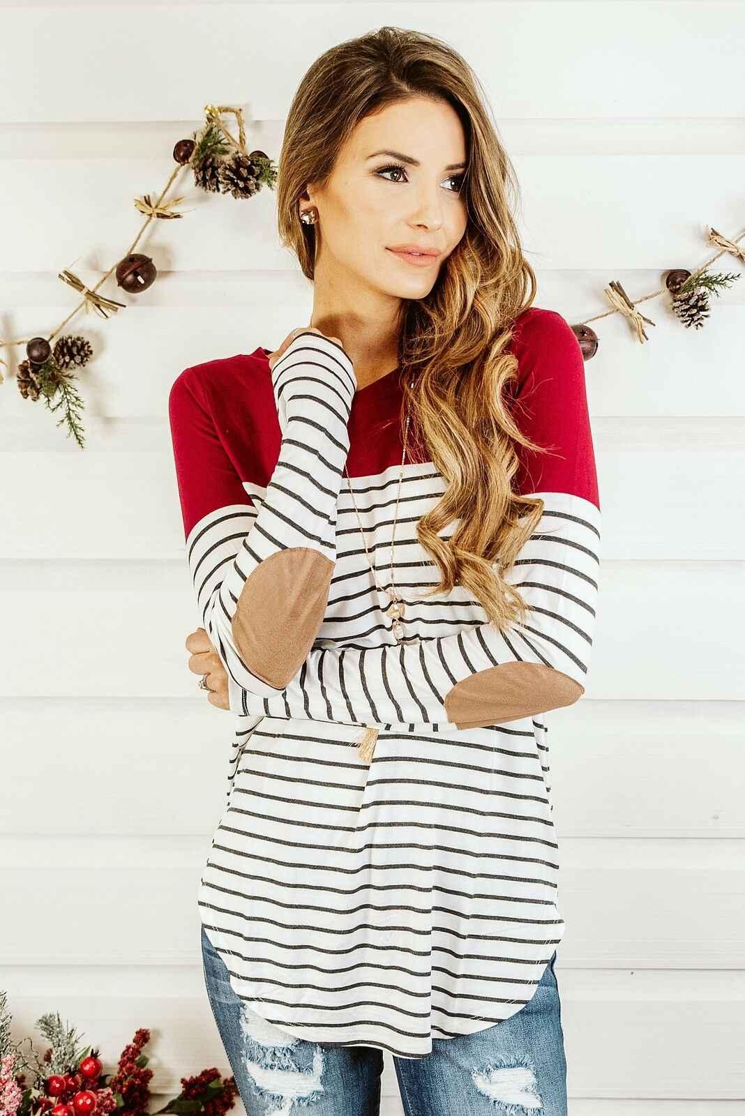 2019 الملابس للنساء الحوامل تي شيرت طويل كم مخطط س الرقبة التمريض قمم الرضاعة الطبيعية الخريف الربيع الإناث عارضة تيز