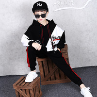 New Cool Baby Boys Hooded T shirt Hip Hop Dance Harem Pants Boy Sport Clothes Suits Kids Clothing Set 4 12 Year