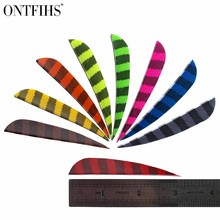 24 pcs ONTFIHS 3 Turkey Feather for Arrow Water Drop Fletching Striped Feathers  Archery Hunting Achery Accessories