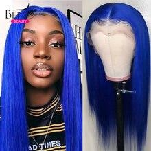 Цветной синий Синтетические волосы на кружеве парик 13x6 парики