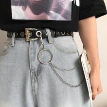 100 см женские ремни из искусственной кожи с цепочкой на талии, подвязки в стиле панк, регулируемые ремни на подтяжках