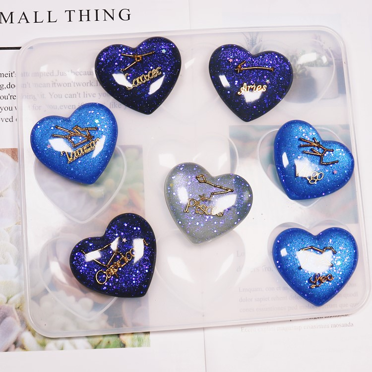 Molds Charms Resin Casting Epoxy Cabochon Jewelry Making 9 Cavity Bright Heart