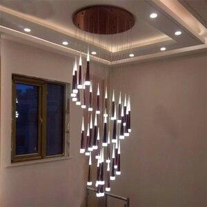 Image 2 - Bắc Âu Hiện Đại Đèn Chùm Pha Lê Phòng Khách Phòng Ngủ Treo Đèn Cầu Thang Trang Trí Mặt Dây Chuyền Đèn Chùm Đèn LED Nhà