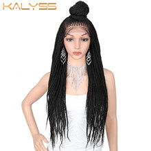 Kaylss — perruques frontales à dentelle synthétique, cheveux tressés avec baby hair pour femmes noires, 30 pouces,