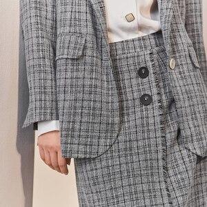 Image 4 - Inman 2020 primavera nova chegada literária retro verificação cinza terno de dois botões saia solto terno