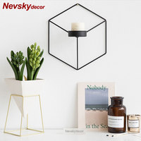 Modern wall metal Candle Holders Lanterns For Coffee Bar Decor home Tea light Candle Holder bougeoir mariage wall flower vases