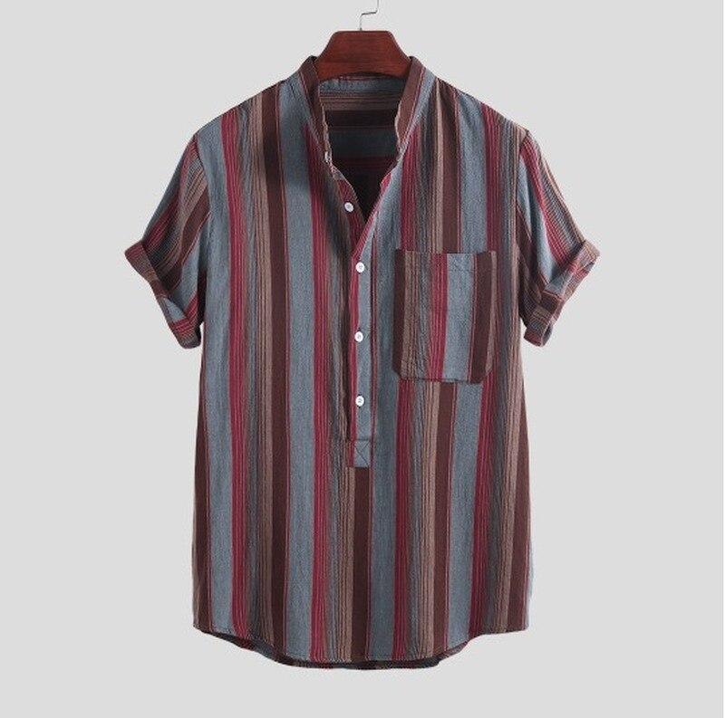 Short Sleeve Men's Hawaiian Shirt Tops Fashion Strip Print Stand Collar Linen Streetwear Shirt Men Top 2020 Summer New Style