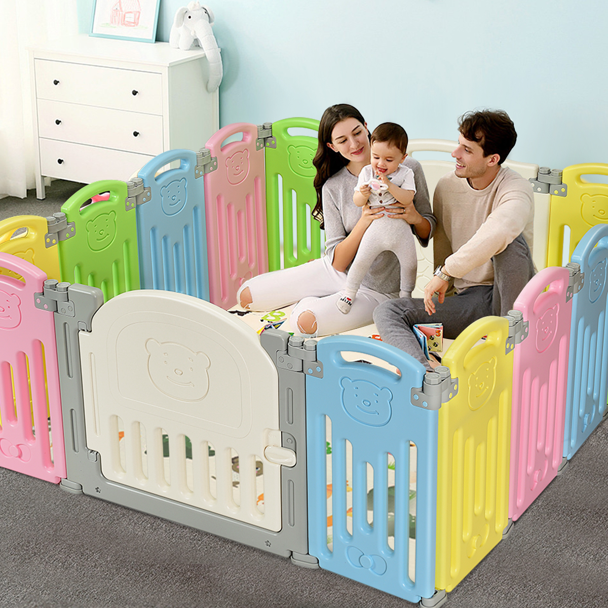 14 Panel Foldable Baby Playpen Kids Activity Center Safety Yard W/Lock Door