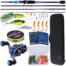 Sougayilang 1.8m 2.1m 4 Section Baitcsting Rod Full Kit Carbon Fiber Casting Reel Sets 100M Fishing Line Lures Hooks Combo Pesca(China)