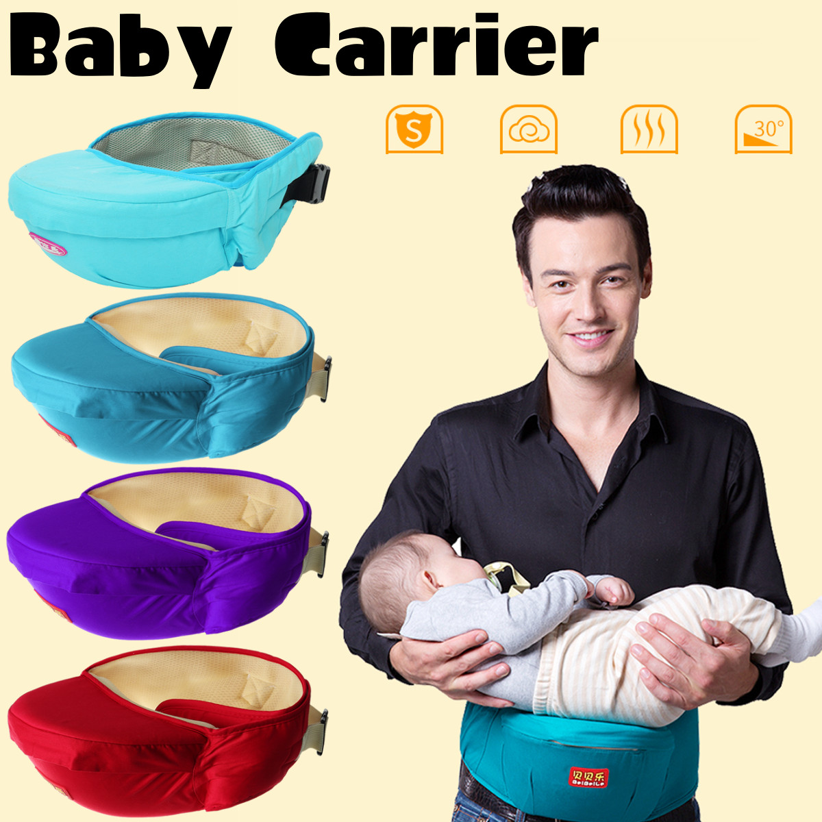 Breathable Baby Carrier Hipseat 0-36 Months Baby Sling Waist Stool Walkers Hold Waist Belt Kangaroo Belt Kids Infant Hip Seat