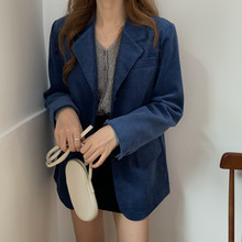 HziriP Fashion Women Blazers and Jackets Vintage Corduroy Loose Casual Work Offi