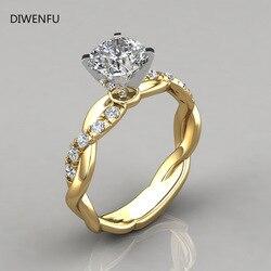 Soild 14K żółte złoto 2 karatowe pierścionki z diamentem dla kobiet 2021 moda czysta biżuteria Bizuteria kamień Anillos De obrączki