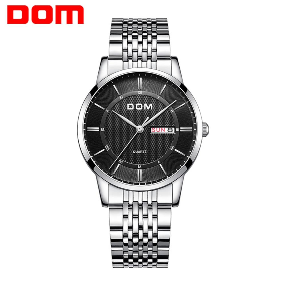 DOM Watches Fashion Men Top Brand Luxury Mens Steel Wristwatches Men's Quartz Sports Watches relogio masculino M-11D-1M