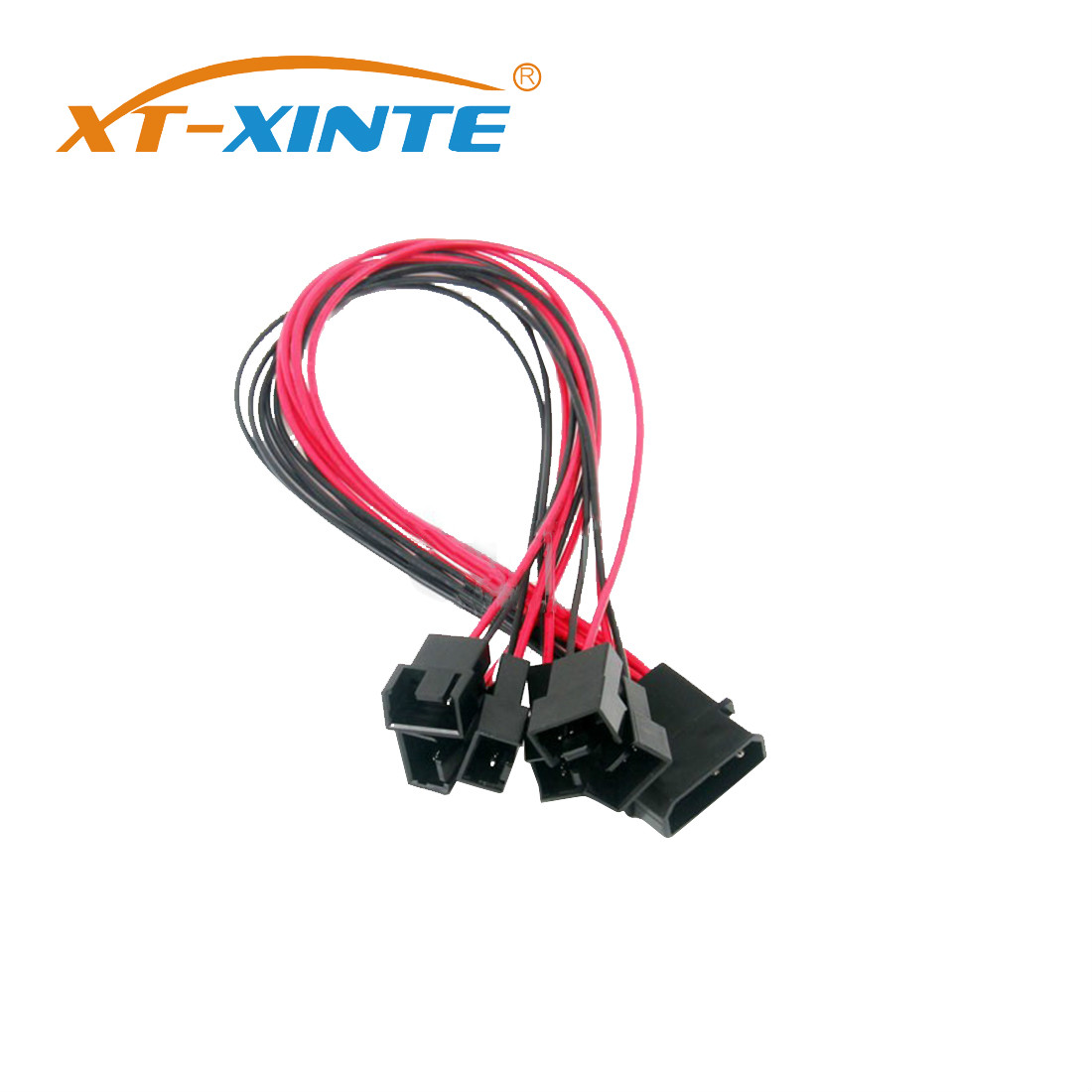 Black Sleeved 30cm Cooler Cooling Fan Splitter Power Cable 12V 4-Pin to 6 Port 3Pin/4Pin Connector for Molex IDE Computer PC DIY