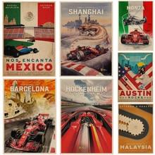 Vintage México Qatar Italia póster de viaje Retro F1 de Pintura de coches pared Bar Pub arte para la casa de papel kraft Decoración Para sala de estar