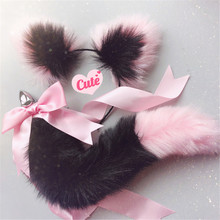 Erotic Cosplay Accessories Adult Sex Toys for Couples Cute Soft Cat Ears Headbands with Fox Tail Bow Metal Butt Anal Plug(China)