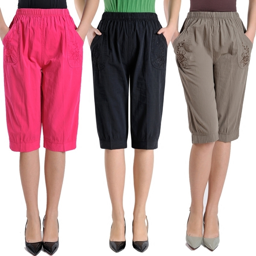 Plus Size Middle Aged Women High Waist Straight Pants Fashion Solid Color Loose Calf Length Pants Casual Summer Female Capris