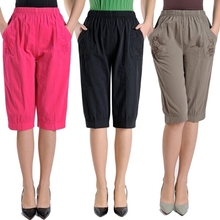 Plus Size Middle Aged Women High Waist Straight Pants Fashion Solid Color Loose Calf Length Pants Casual Summer Female Capris цена