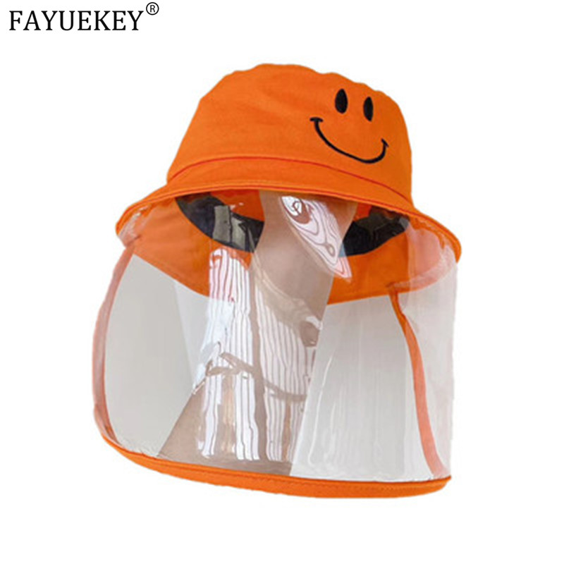 2020 Kids Bucket Hats With Clear Protective Cover Face Outdoor Orange Color Smile Sun Hats Anti-saliva Anti-fog Fisherman Caps