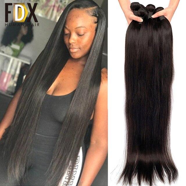 FDX шелковистые прямые волосы, пряди, бразильские волосы, плетение, пряди, 100% человеческие волосы Remy, 30 32 34 36 38 40 дюймов, прямые, 1/3/4 шт.