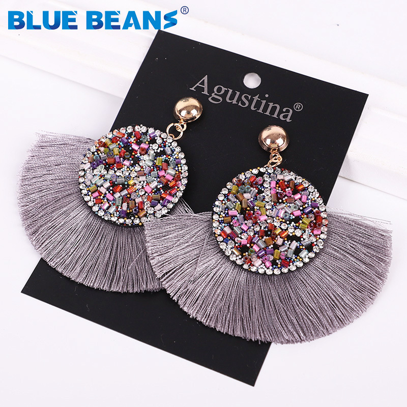 H86b32df1ae2442d9a082bf6535490597Q - Tassel Earrings Women Punk Earings Fashion Jewelry Hanging Crystal Star Girls Earring Drop Dangle Long Boho Set  Luxury Handmade