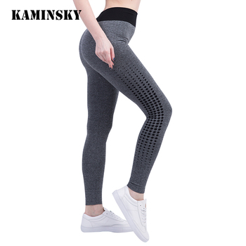 Kaminsky Women Sexy Cropped Leggings Slim Trousers High Waist Elastic Wicking Force Exercise Female Elastic Stretchy Leggings image