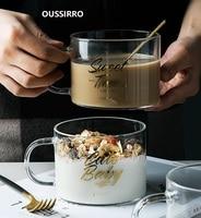 OUSSIRRO Creative Transparent Double Anti Scald Letter Large Glass Cup Handle Mug office Dessert Tea Cup Breakfast|Transparent|   -