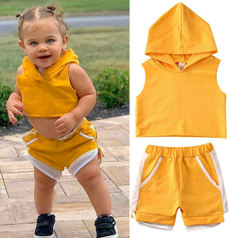 2PCS Kids Baby Girl Summer Clothes Sleeveless Yellow Cropped Hooded Tops Pants Tracksuit Summer Cotton Outfit 1-6Y
