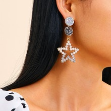 2019 Fashion Designer Diamond Star Dangle Earrings For Women Statement Hollow Bridal Drop Earings Jewelry