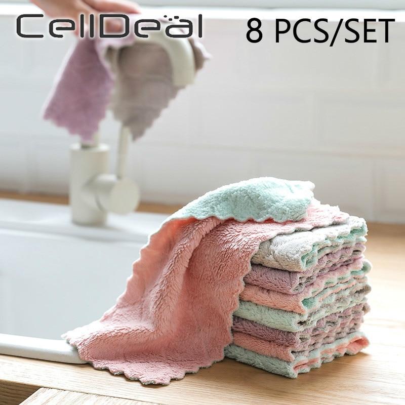 Двухслойная впитывающая ткань из микрофибры для кухонной посуды, антипригарное масло, бытовое чистящее полотенце, кухонные инструменты, 8 ш...
