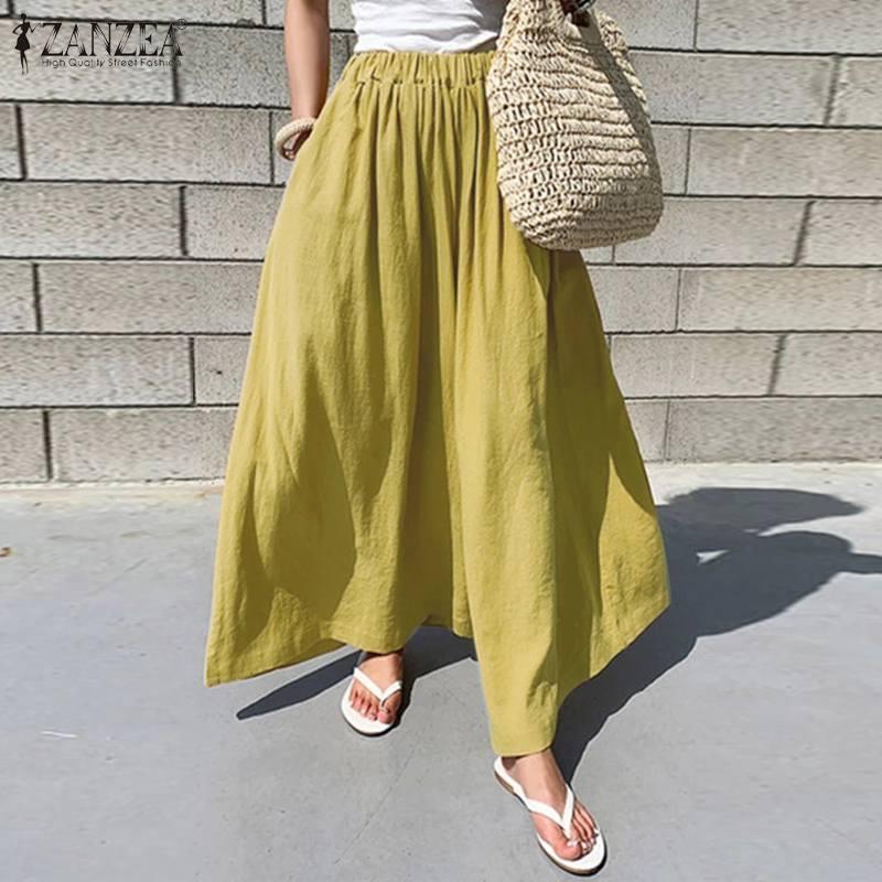 Mode Culottes pantalons femmes jambe large Pantalon 2020 ZANZEA décontracté taille élastique Pantalon Long Palazzo femme solide navet 5XL
