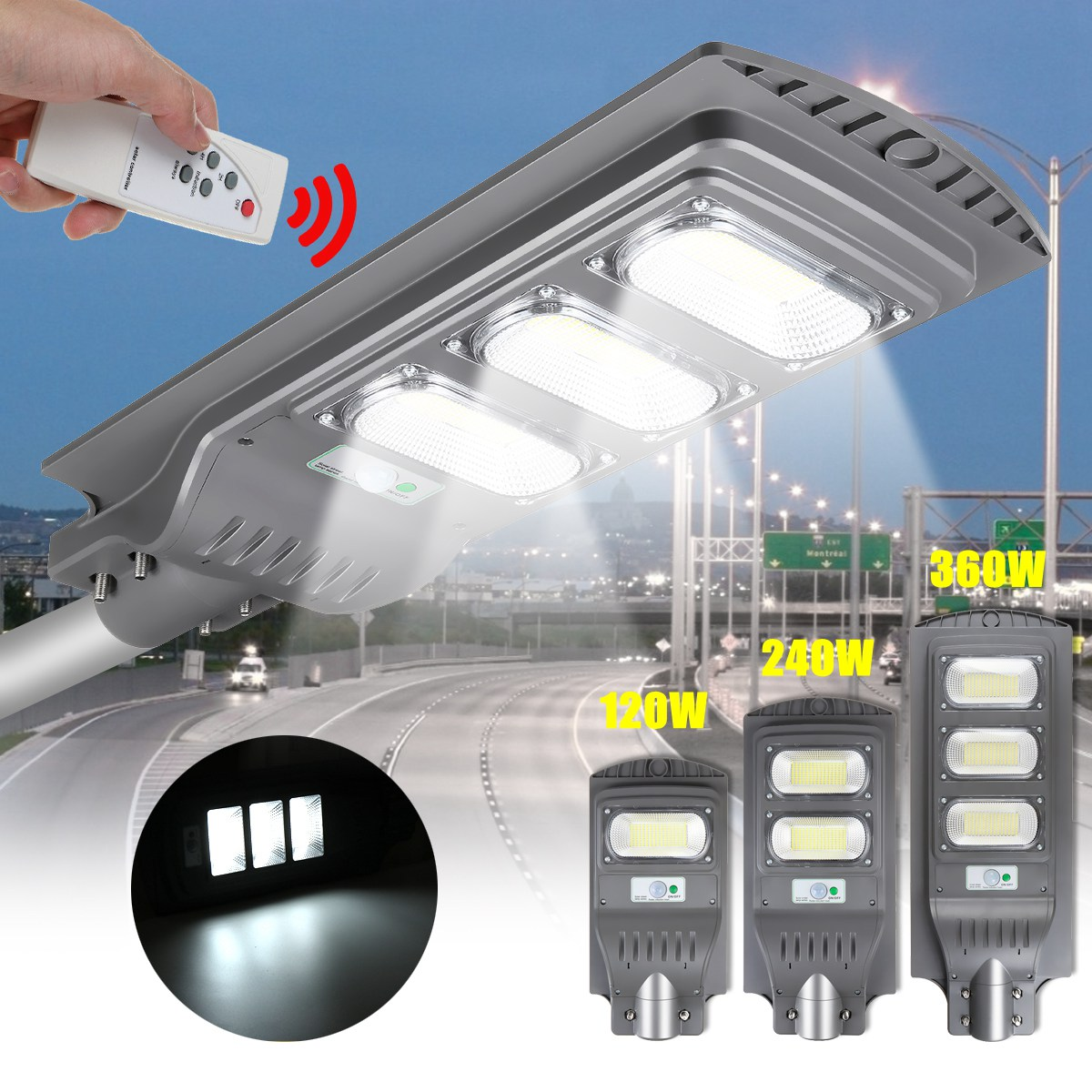 120W 240W 360W LED Outdoor Lighting Solar Wall Light Radars Induction Garden Timing Lamp LED Street Light With Remote Control
