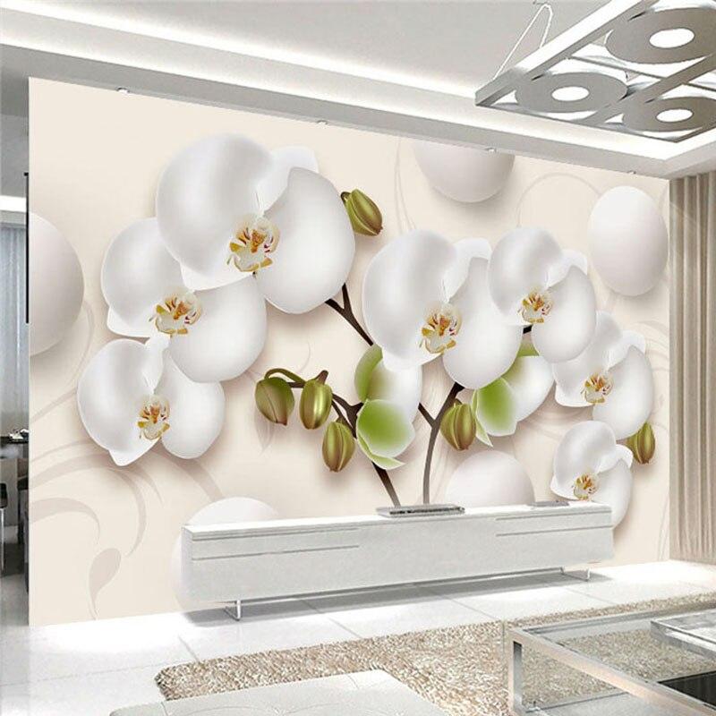 3D обои современные HD стерео Орхидея белые цветы фото настенные фрески Гостиная ТВ диван фон настенный домашний декор Papel росписи 3D