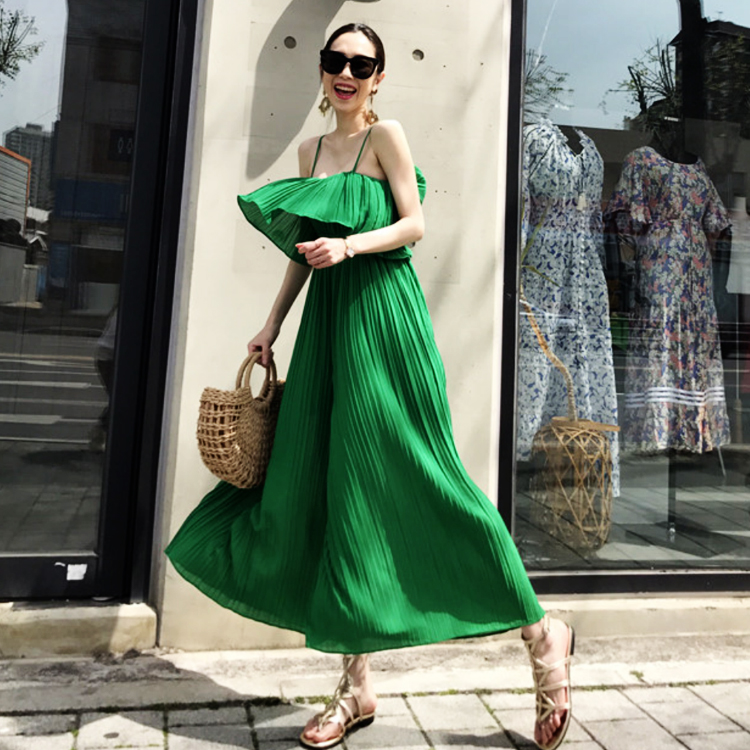 HOT SELLING Fashion Solid Pleated Strap European Version Of  Fashion Temperament Jumpsuit One-piece Wide-leg Jumpsuit IN STOCK