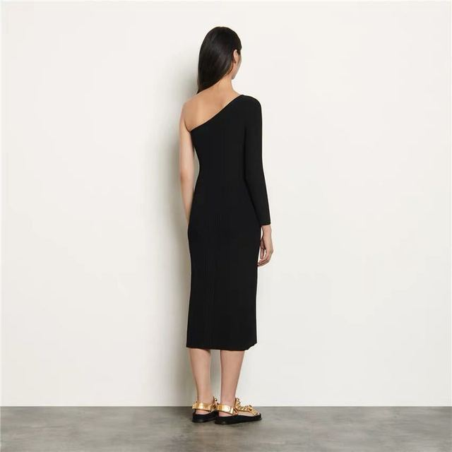 2020 Spring/summer New Strapless Dress with Slit Ribbed Sexy Waist and Slim Knit Dress Casual Dresses Black Dress  Women Dress 2