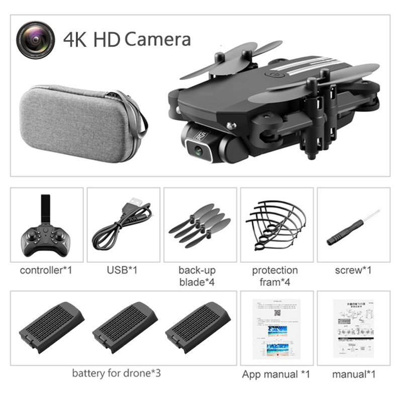 LS-MIN 2020 New Mini Drone 4K 1080P HD Camera WiFi Fpv Air Pressure Altitude Keep Foldable Quadcopter RC Drones Children's Toy