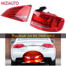 цена на Inner and Outer Side Led Rear tail light For Audi A4 B8 2008-2012 Tail Stop Brake Lights Car Accessories Rear turn signal lamp