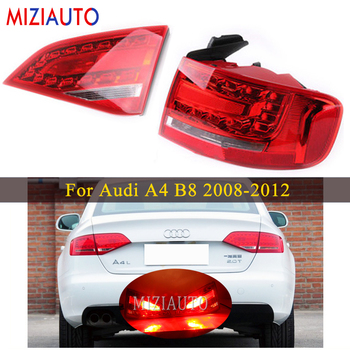 Inner and Outer Side Led Rear tail light For Audi A4 B8 2008-2012 Tail Stop Brake Lights Car Accessories Rear turn signal lamp цена 2017