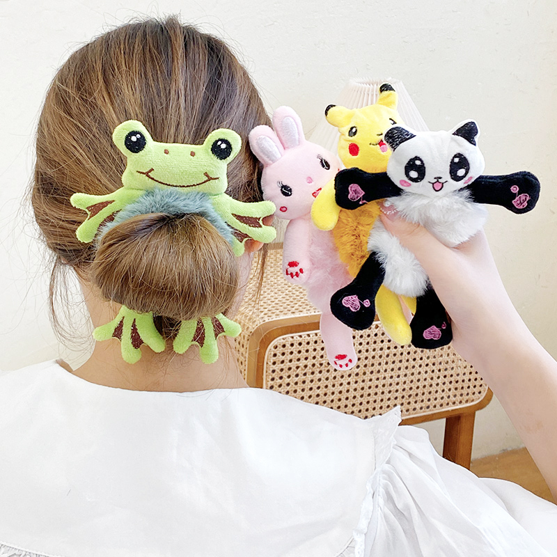 New Kawaii Women Elastic Hair Rubber Head Accessories Cartoon Plush Frog Rabbit Cat Stuffed Animal Scrunchie Girl Hair Band