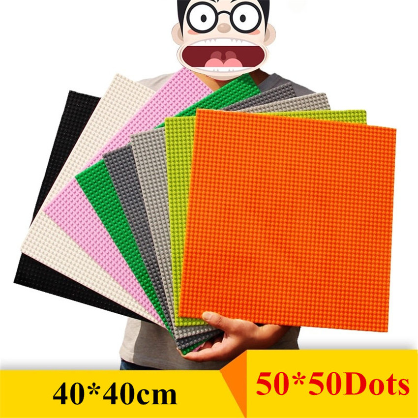 50*50 Dots Base Plate Lepinblocks Building Blocks Wall DIY BasePlate 40*40cm Small Bricks Toys For Children Compatible Legoings