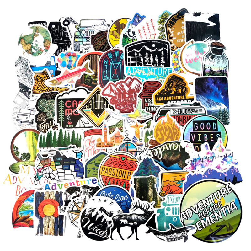 65Pcs Outdoor Adventure Computer Sticker Explore Nature Climbing Camping Travel Waterproof Laptop Decals For MacBook/HP Notebook