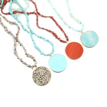 Oblate Semi-precious Stone Gravel Trendy Natural Pendants Necklace Fashion Charms Pendant Necklaces Jewelry Length 80cm luna chiao fashion ins popular round natural stone fan fringed cotton tassel necklaces pendants for women