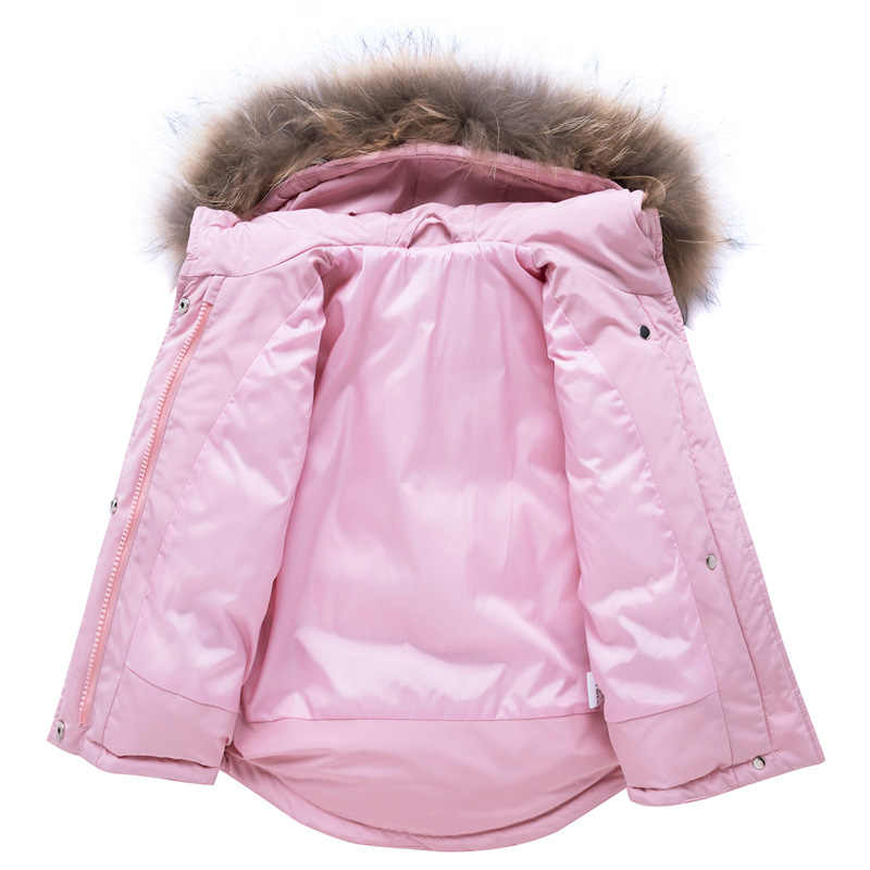 -30 graus Infantil Bebê Inverno Frio Quente Terno De Esqui Crianças Bebê Grande Gola De Pele Verdadeira Com Capuz Pato Branco Para Baixo conjunto De Esqui jaqueta + Calça Bebê